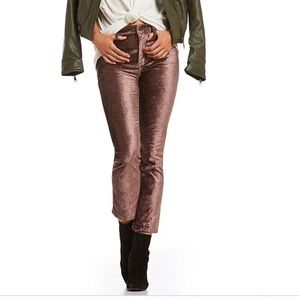 Free People Velvet Cropped Flare Pants Taupe 25
